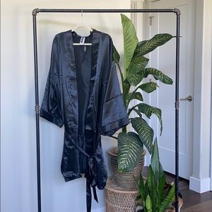Adore Me Black Satin Robe